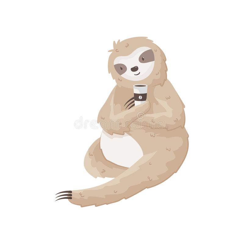Lazy sloth holds cup of coffee, sitting on the ground. Cheerful morning concept. Funny sloth holds cup and tastes coffee. Enjoy the morning moments. Even lazy royalty free illustration