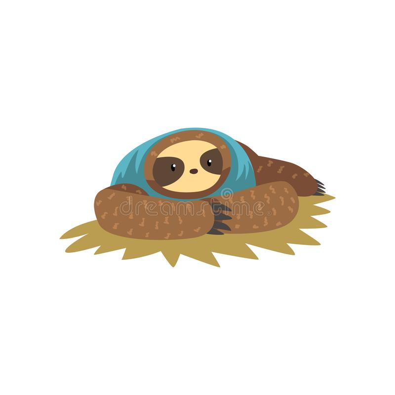 Funny sloth lying, lazy exotic rainforest animal character vector Illustrations on a white background. Funny sloth lying, lazy exotic rainforest animal character stock illustration