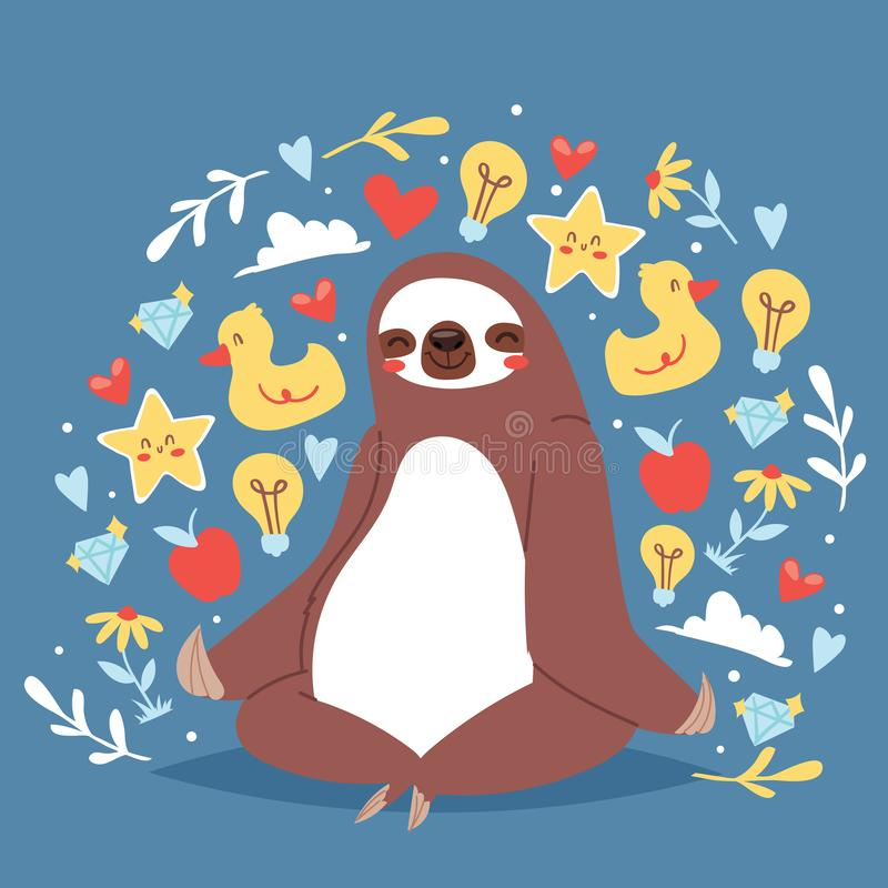 Funny sloth sitting in yoga lotus pose and relaxing vector illustration. Cartoon animal background with icons of duck. Funny sloth sitting in yoga lotus pose stock illustration