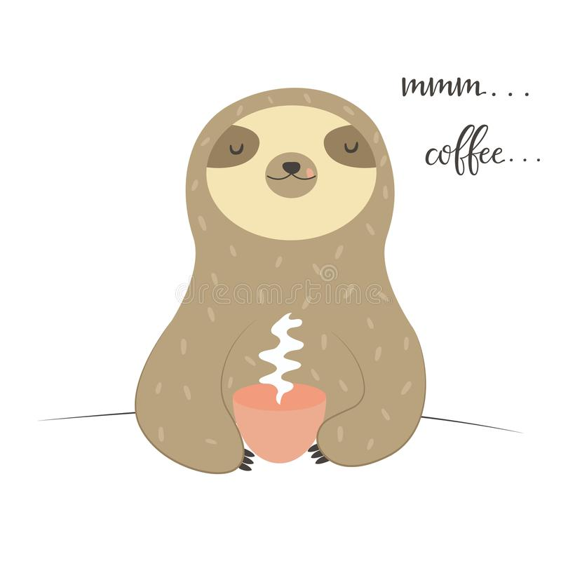 Funny Sloth tasting cup of coffee. Enjoy the morning stock illustration
