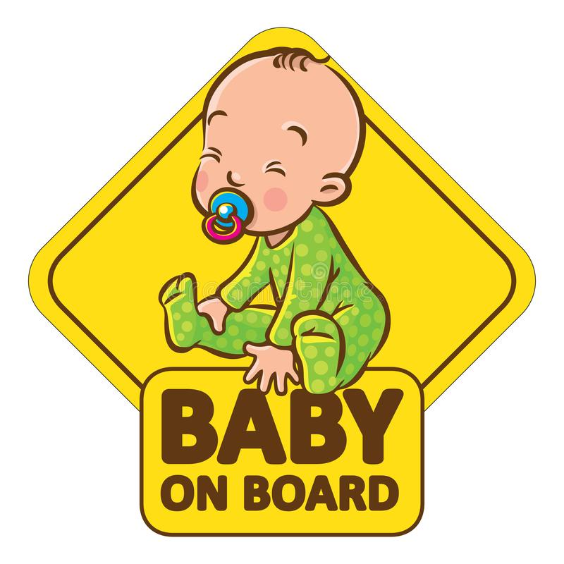 Funny small baby sitting with dummy. Baby On Board. Funny small smiling boy or girl, sitting in romper with dummy. The sticker on the back window of the car vector illustration
