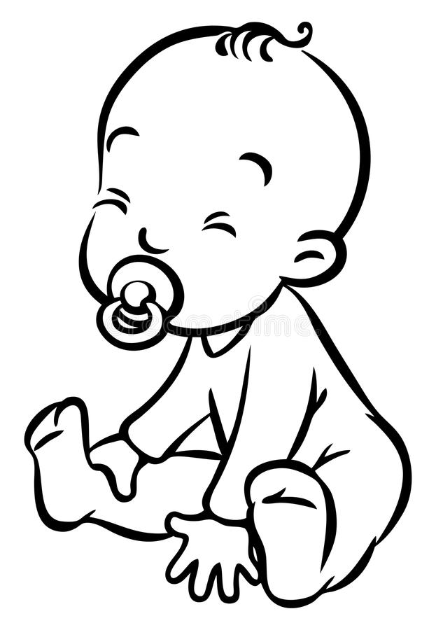 Line Drawing Of Baby Face : Funny small baby sitting with dummy stock vector