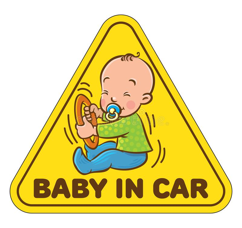Funny small baby sitting with dummy. Baby in car. Funny small child with dummy. Boy or girl with the ring, like a driver with steering wheel. The sticker on the royalty free illustration