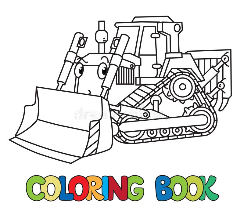 Funny small bulldozer with eyes. Coloring book royalty free illustration