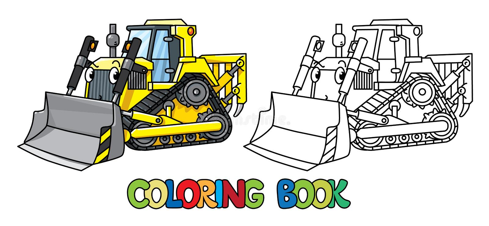 Funny small bulldozer with eyes. Coloring book vector illustration