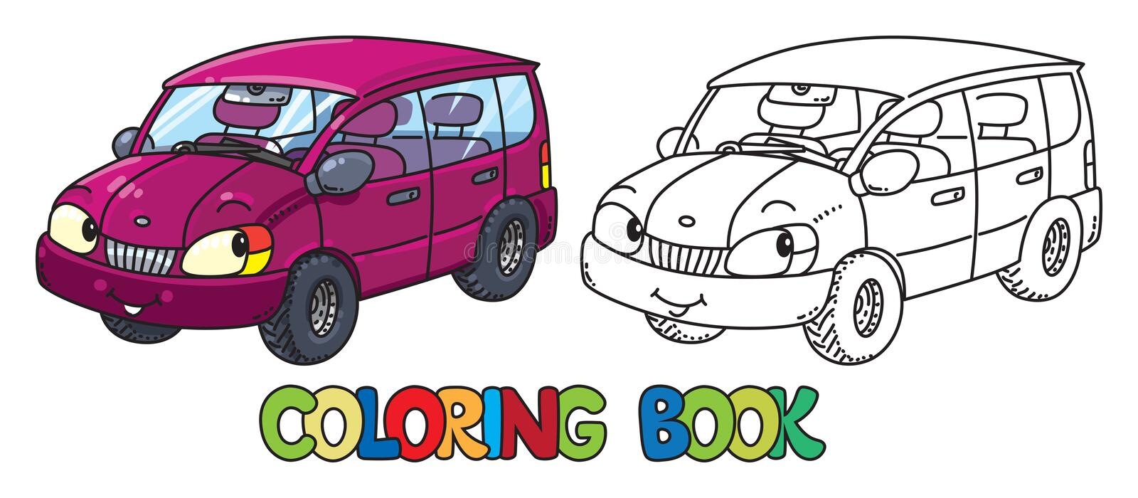 Funny small car with eyes. Coloring book vector illustration