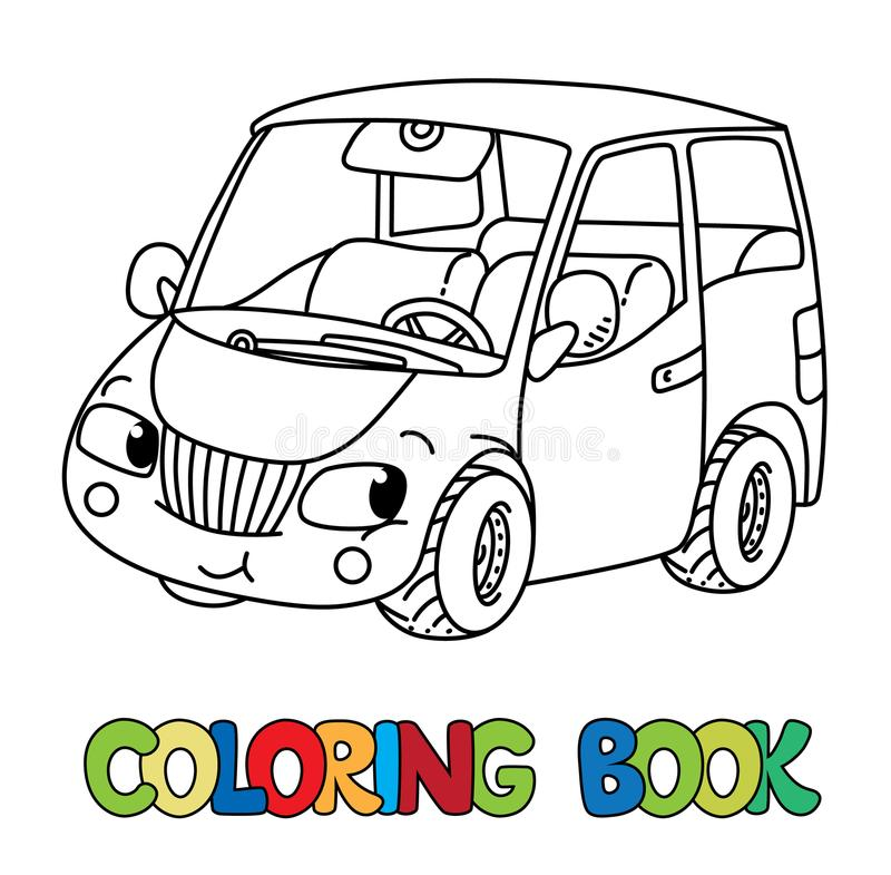 Funny small car with eyes. Coloring book royalty free illustration