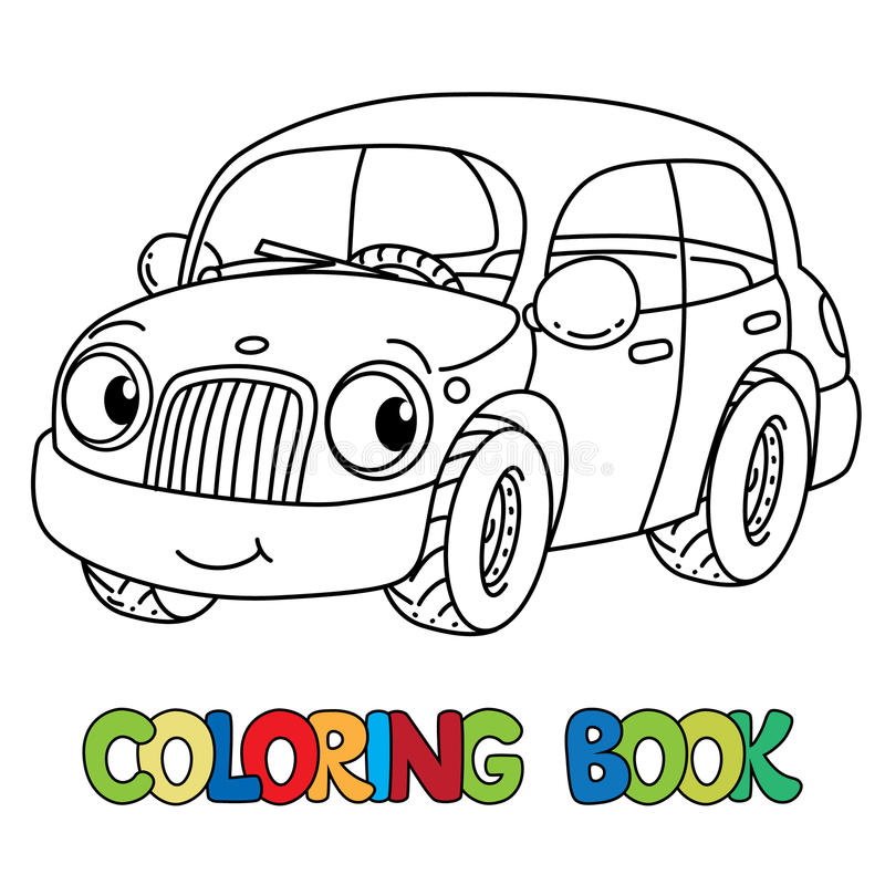 Download Funny Small Car With Eyes Coloring Book Stock Vector