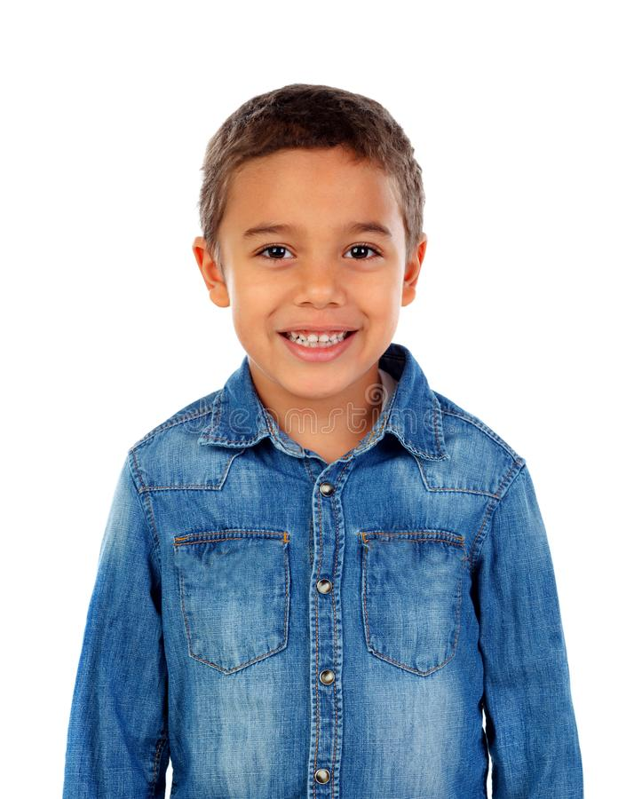 Funny small child with denim t-shirt royalty free stock images