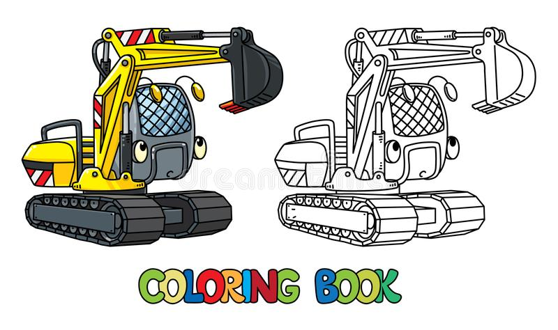Funny small excavator with eyes. Coloring book. Excavator coloringbook for kids. Small funny vector cute car with eyes and mouth. Children vector illustration royalty free illustration