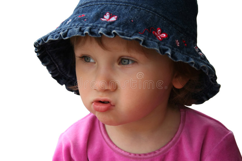 Funny small girl (Isolated) stock images