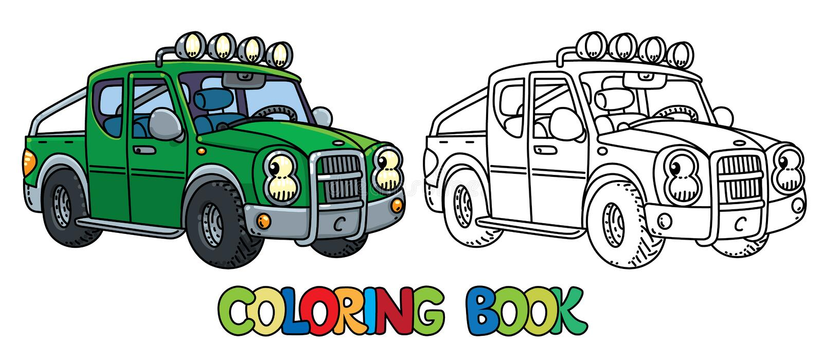 Funny small pickup truck with eyes. Coloring book vector illustration