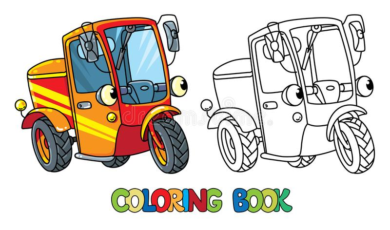 Funny small scooter or car with eyes Coloring book vector illustration