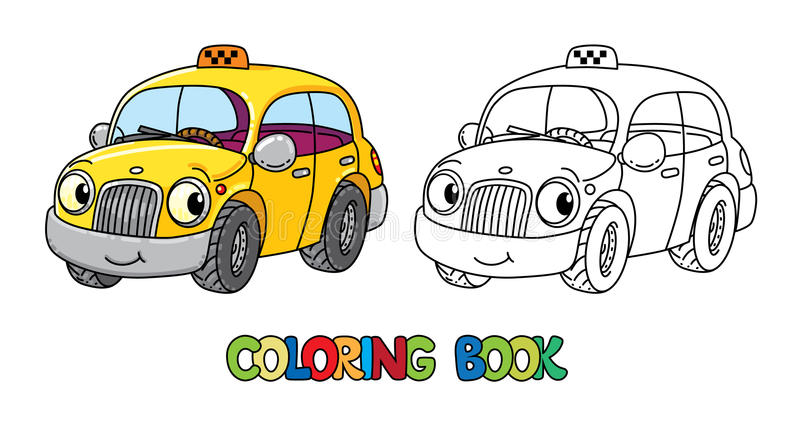 Funny small taxi car with eyes. Coloring book royalty free illustration
