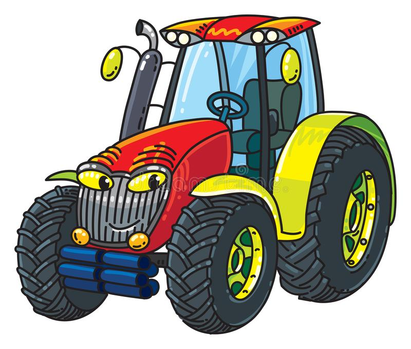 Funny small tractor with eyes. Tractor. Small funny vector cute car with eyes and mouth. Children vector illustration stock illustration