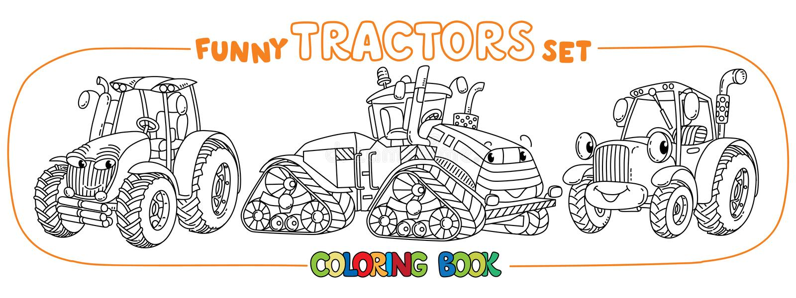 Funny small tractor set with eyes. Coloring book royalty free illustration