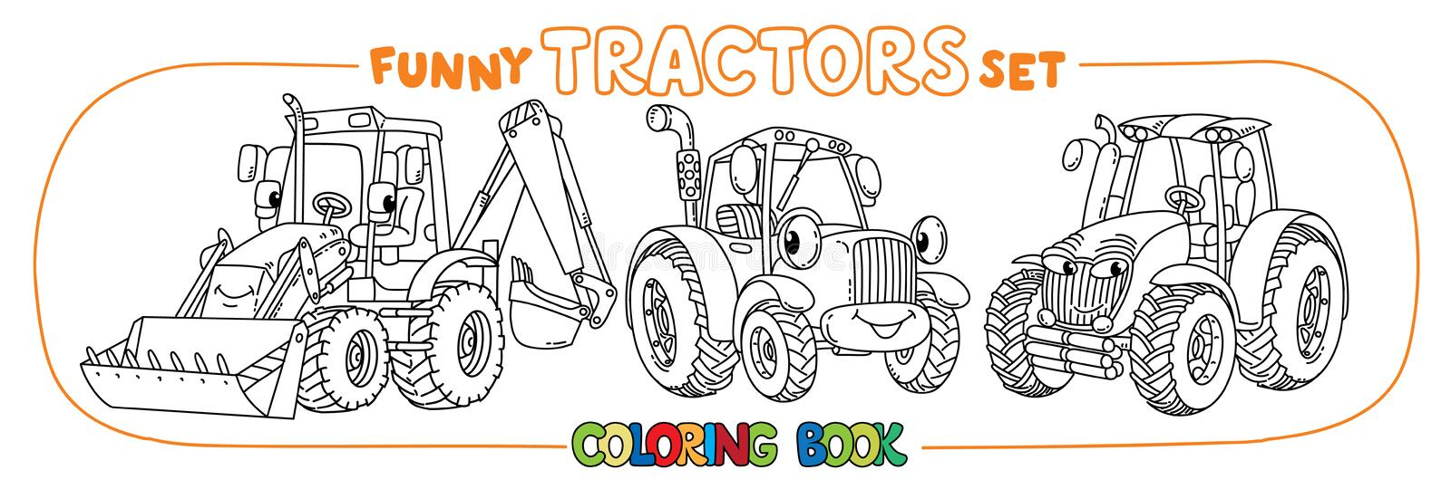 Funny small tractor set with eyes. Coloring book stock illustration
