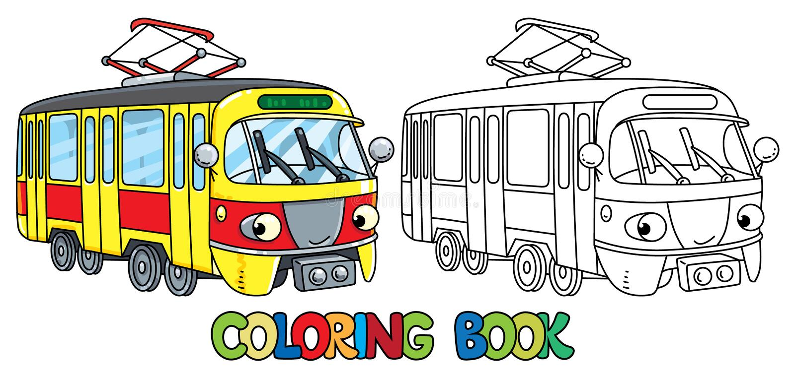 Funny small tram with eyes. Coloring book stock illustration