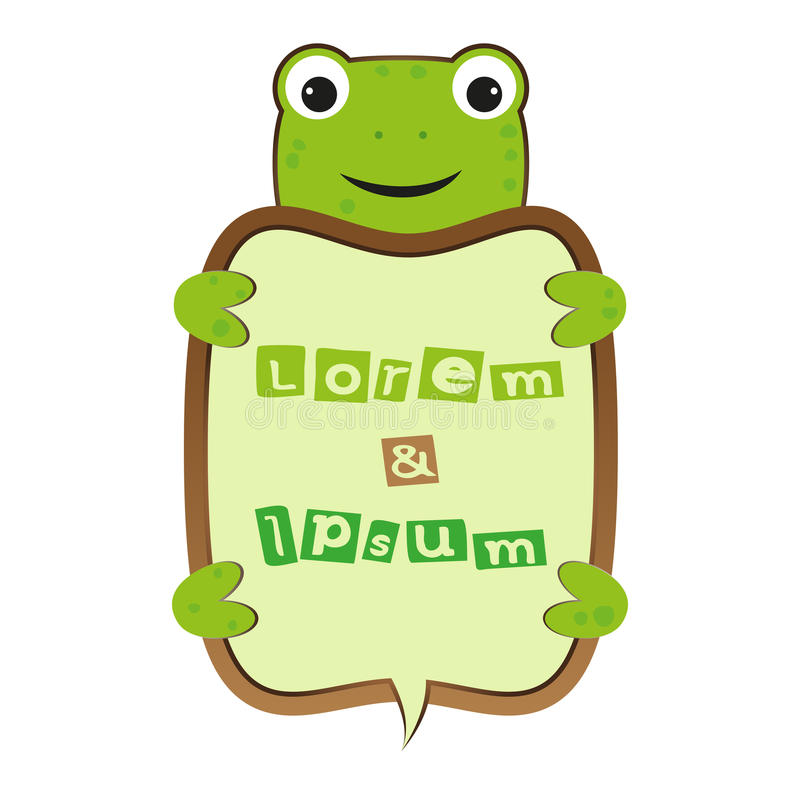 Funny smile cute cartoon turtle or frog self business frame with text vector kids illustration stock illustration