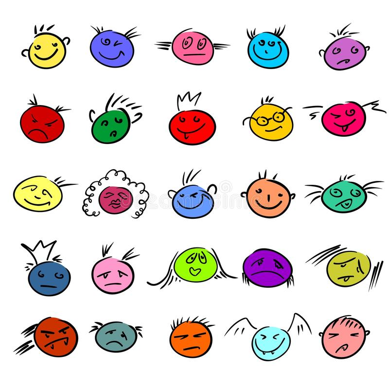 Funny smiles. Policoloured funny smiles, this illustration may be usefull as designer work vector illustration