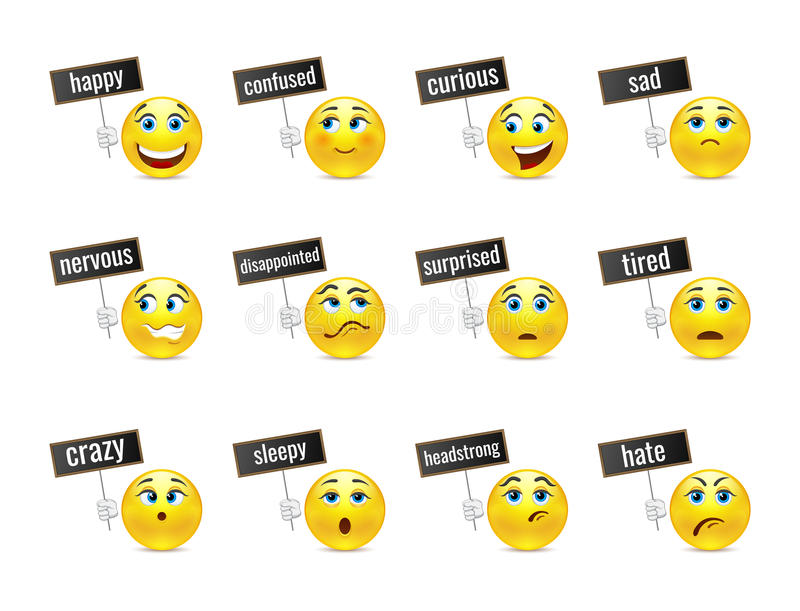 Funny smiles emotions with plates. Different smiles emotions with plates vector illustration