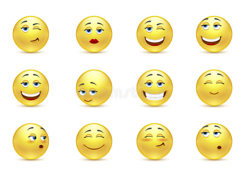 Funny smiles. Vector set of funny smiles royalty free illustration