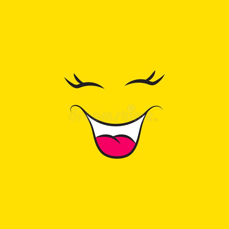 Funny smiley face icon on yellow background. Laughing emoji mood emotions expressions vector stock illustration