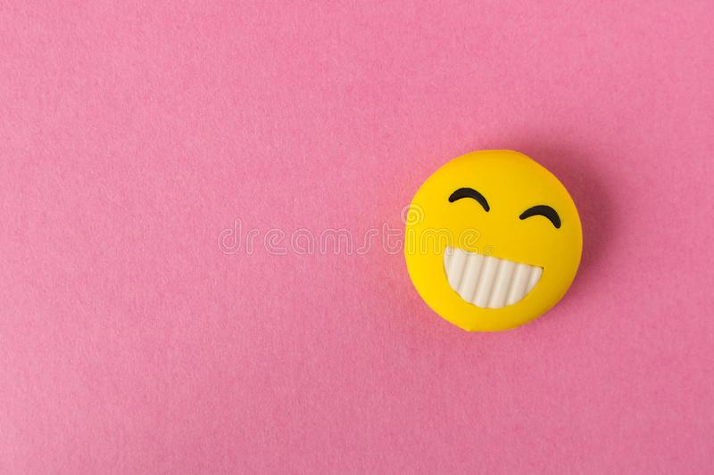 Funny Smiley Face On Pink Background  Positive Mood  Empty Text