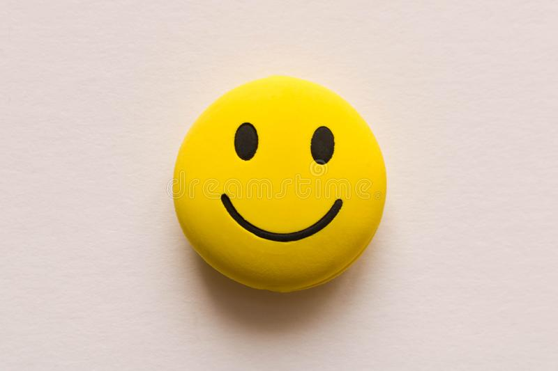Funny smiley face on white background. Positive mood.  stock photography
