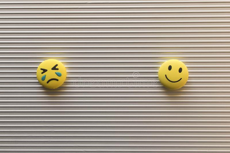 Funny smiley faces on silver background. Positive mood concept.  royalty free stock photography