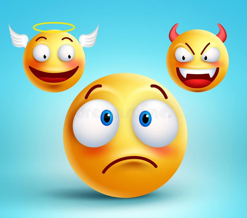 Funny smiley vector character thinking choice between good angel. And bad demon about decision. Vector illustration stock illustration