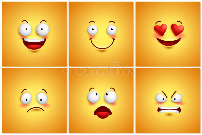 Funny smileys vector poster wallpaper backgrounds set. With different facial expressions and emotions. Vector illustration stock illustration