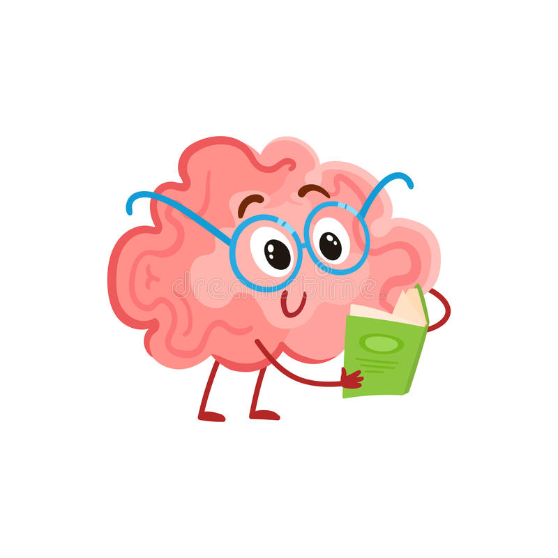 Funny smiling brain in round glasses reading a book stock illustration