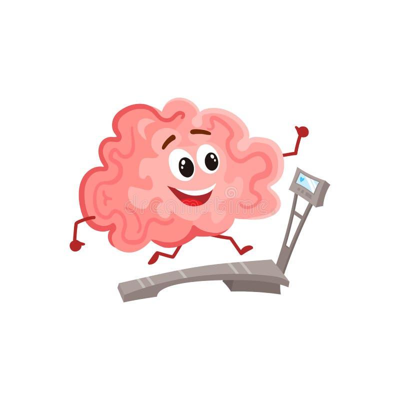 Funny smiling brain running on a treadmill royalty free illustration