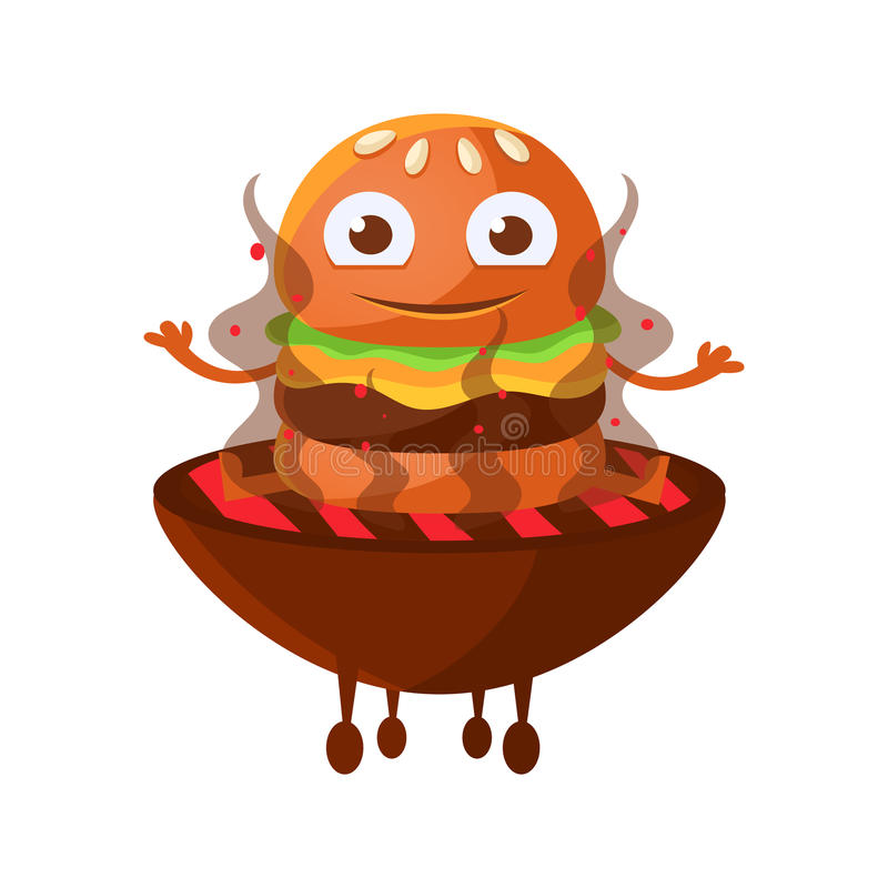 Funny smiling burger with big eyes sitting on the hot BBQ charcoal grill. Cute cartoon fast food emoji character vector. Illustration isolated on a white royalty free illustration