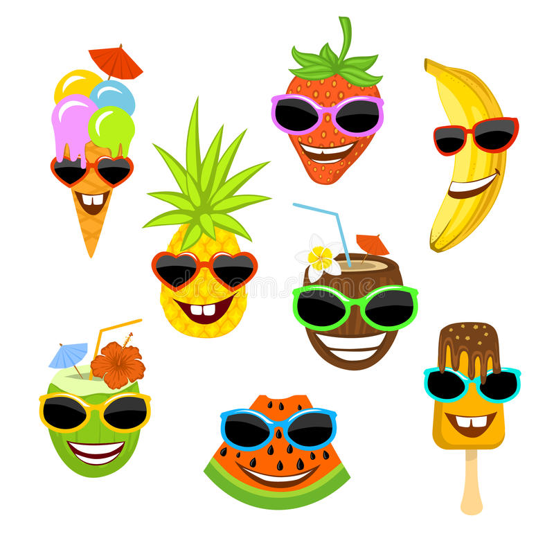 Funny smiling cartoon fruits, ice cream , coconuts in sunglasses stock illustration
