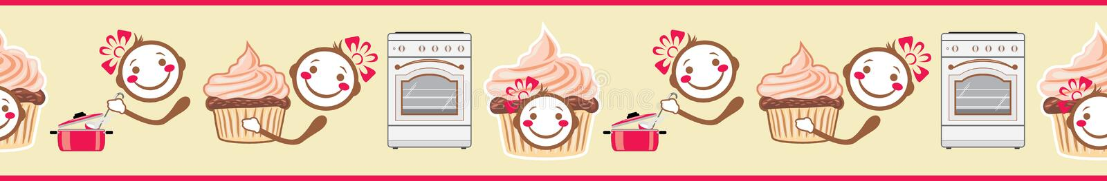 Funny smiling cook and cupcake. Seamless border for menu design royalty free stock images