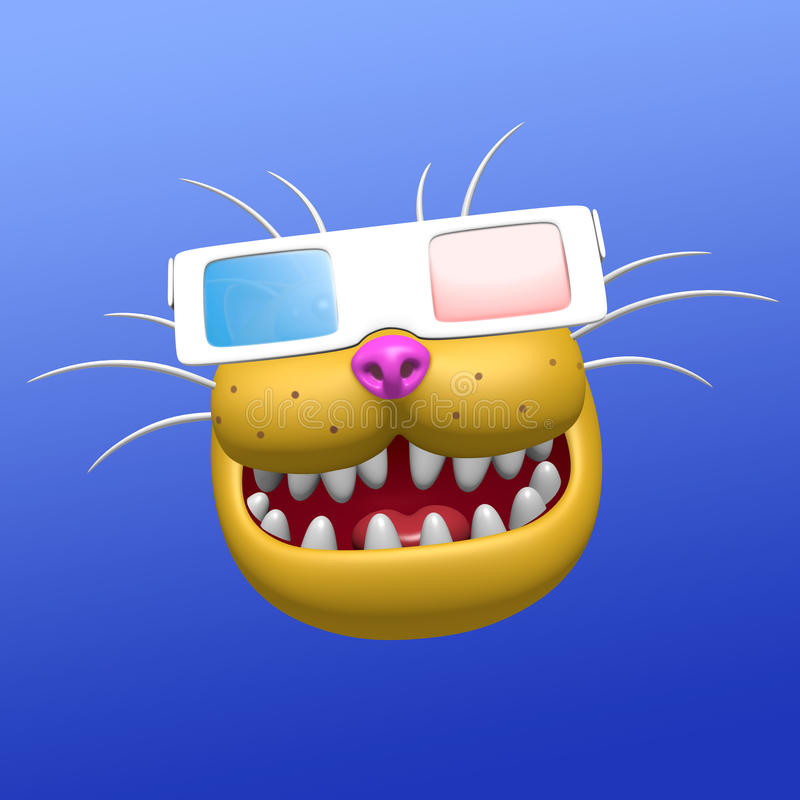 Funny smiling orange cat muzzle in 3d glasses. 3D illustration. stock illustration