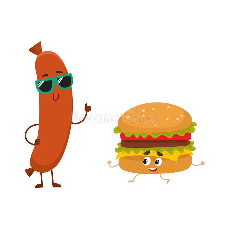 Funny smiling sausage and hamburger characters, fast food concept vector illustration