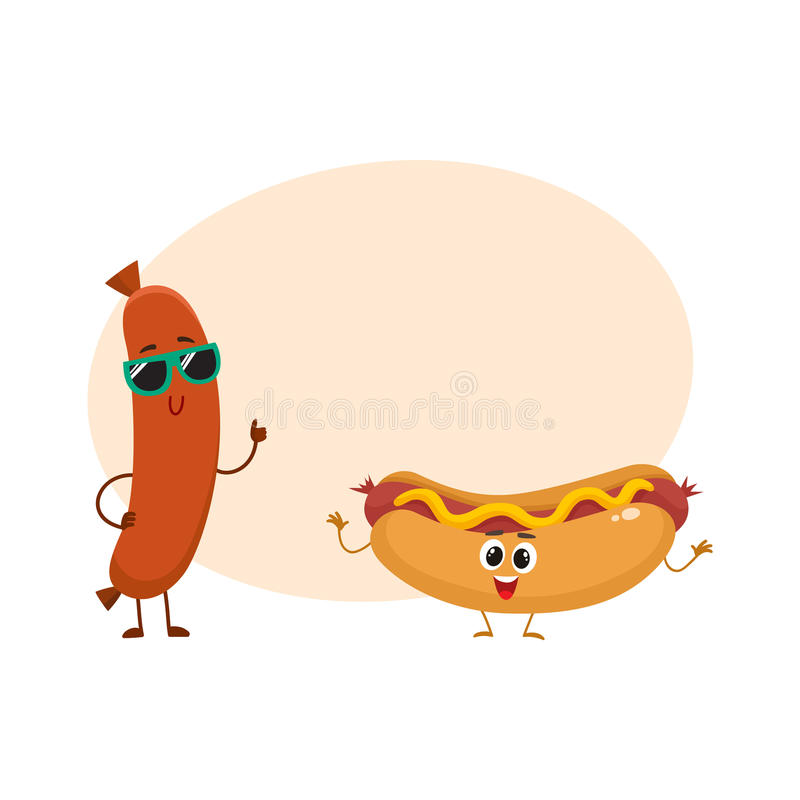 Funny smiling sausage and hotdog characters, fast food concept royalty free illustration