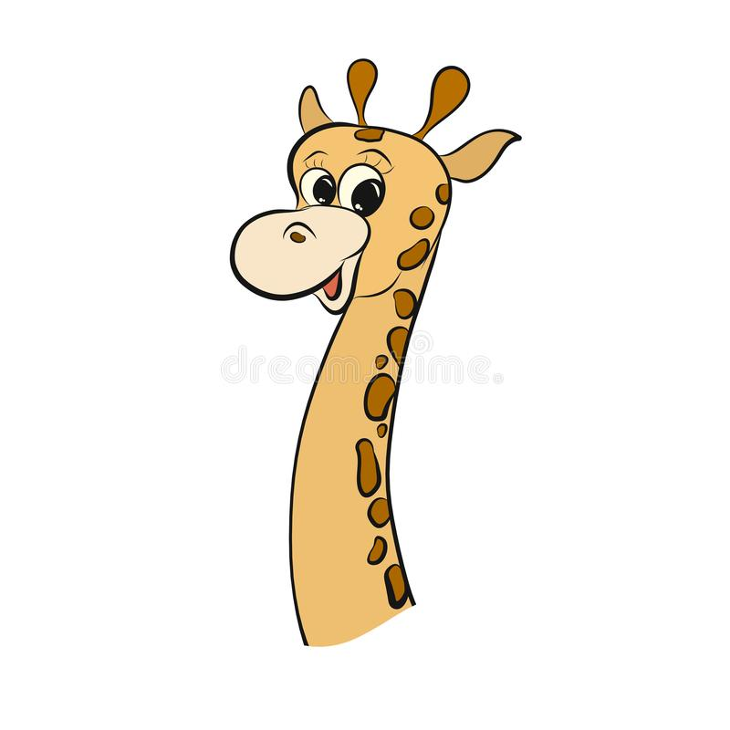 Funny smiling spotted little giraffe with a long neck.  royalty free illustration