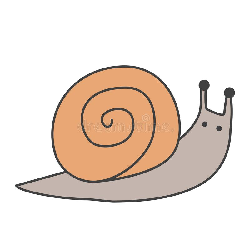 Funny snail cartoon icon. Vector illustration stock illustration