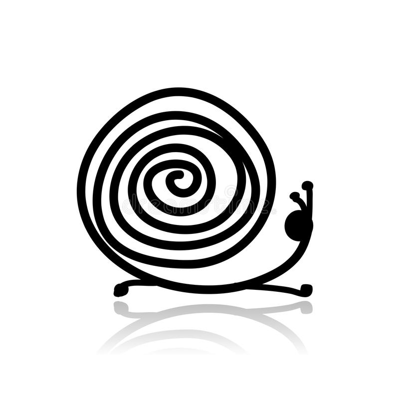 Funny Snail Sketch Royalty Free Stock Images