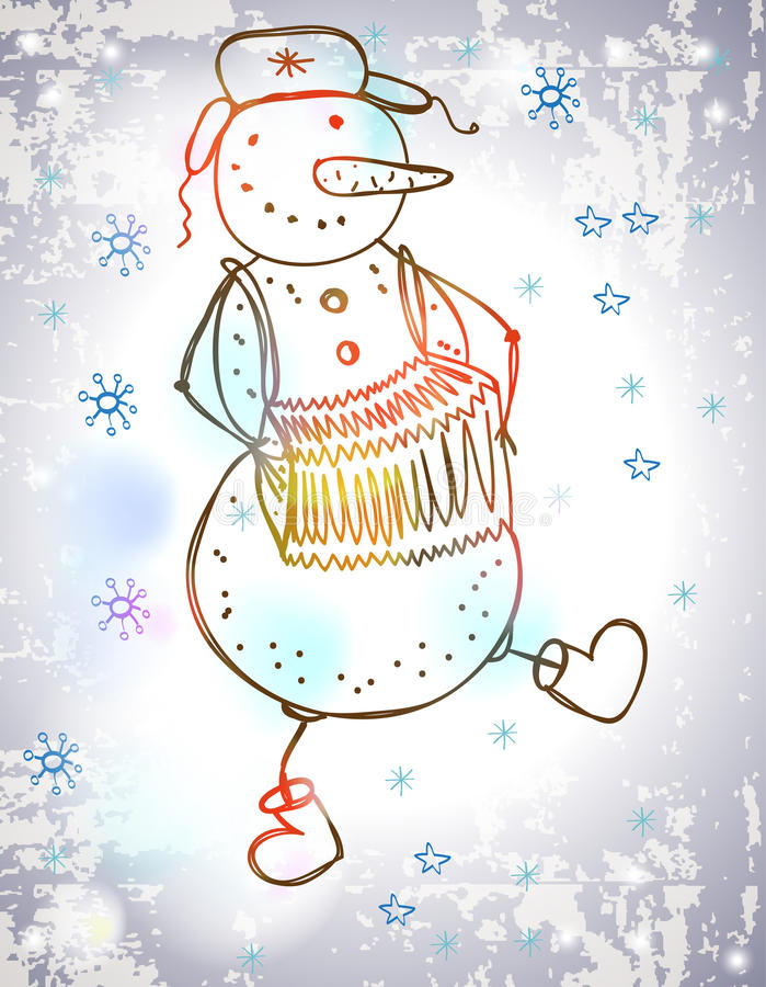 Funny snowman with accordion, dancing. Christmas Holiday Illustration stock illustration