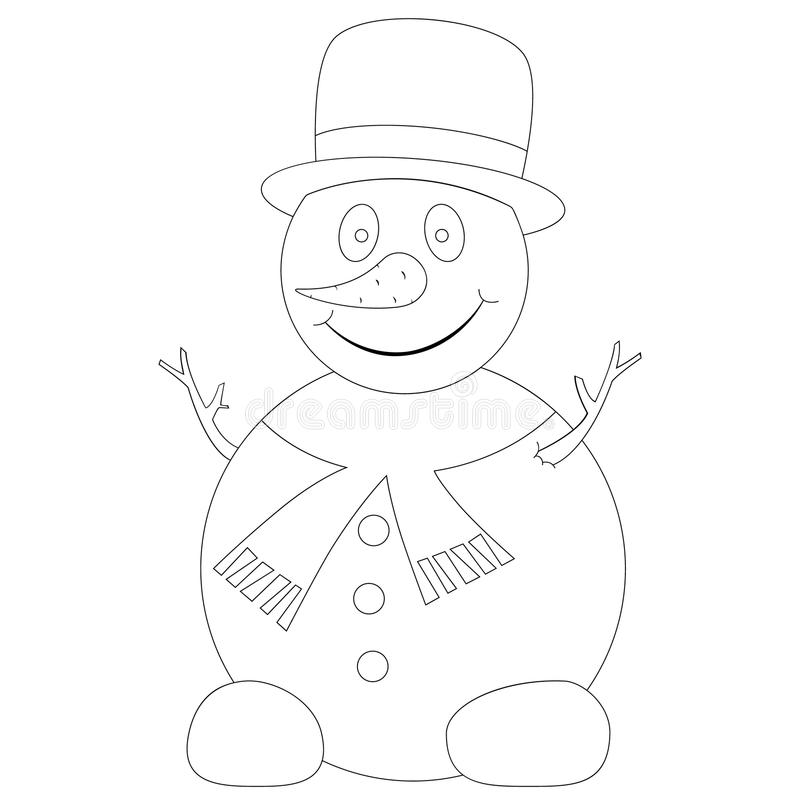 Funny snowman illustration royalty free stock photo