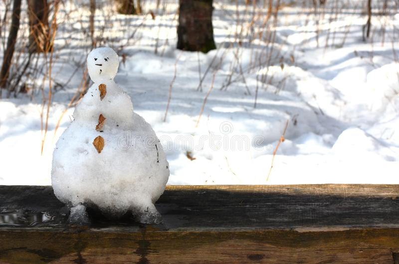 Funny snowman melted in the forest on a bench stock images