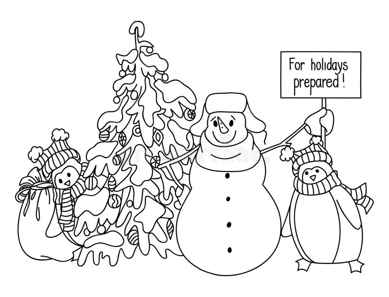 Coloring Christmas Card With Penguin Stock Vector ...