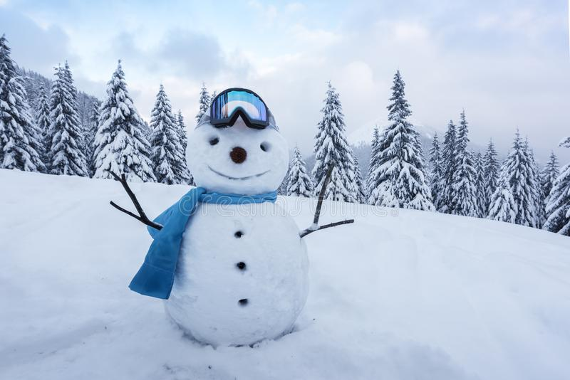 Funny snowman in ski glass stock photography