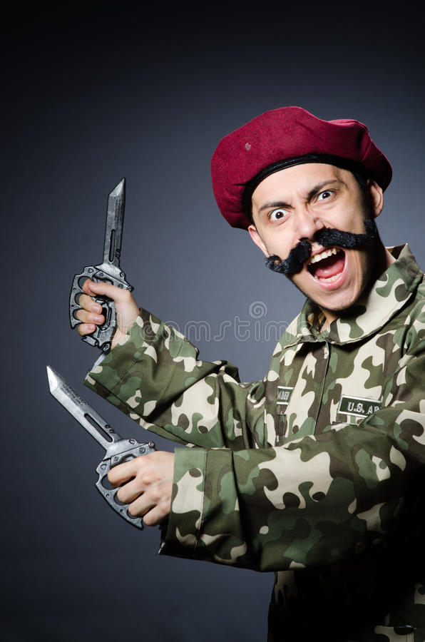 Download Funny soldier stock photo. Image of knife, male, officer - 42203212