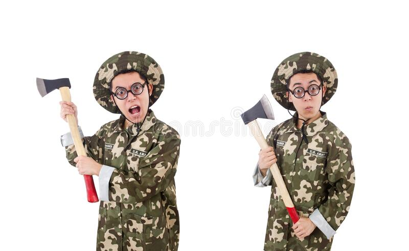 Funny soldier with the axe isolated on white royalty free stock photos